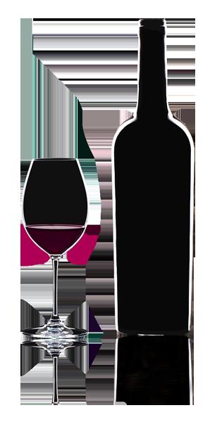 Bottiglia e bicchiere di vino in trasparenza